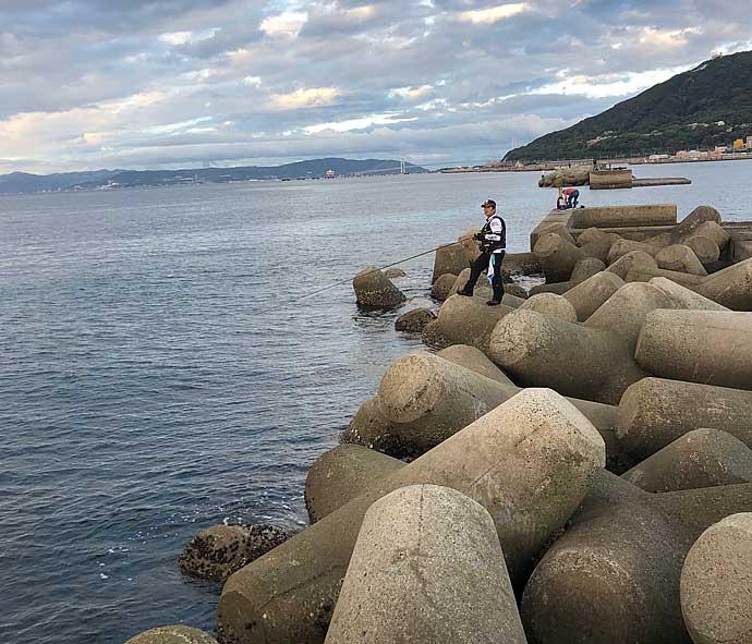 沖堤『飲ませ釣り』で60cmメジロ 想定外のチヌもヒット【須磨浦一文字】