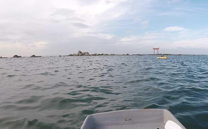 「手こぎボート」エギングでアオリイカ18杯手中【葉山釣具センター】