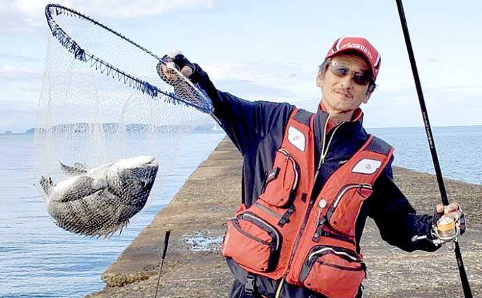 沖堤フカセ釣りで48.5cmチヌ手中 秋の盛期入り実感【兵庫・姫路】