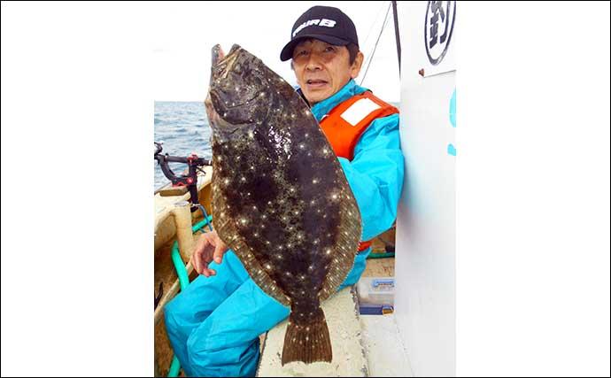 外房ヒラメ釣りで船中24尾と活況継続 嬉しい高級ゲスト魚も【二三丸】
