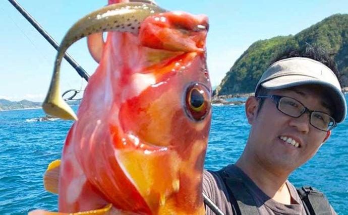 沖磯『キャスティングタイラバ』で36cm頭にハタ類好捕【牛深・石鯛丸】