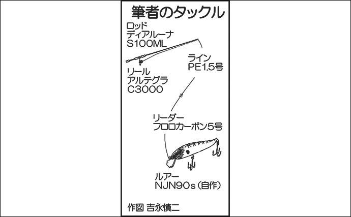 リバーシーバスゲームで59cm浮上 海水のレンジ見極めがキモ【熊本】