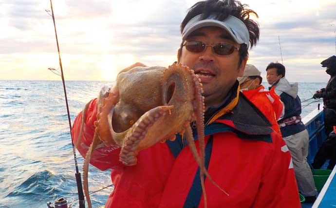 エギタコ釣りで2.5kg頭に13尾 良型狙いの好機到来【茨城・幸栄丸】