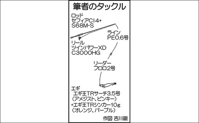 ティップランエギングで1.9kgデカアオリ堂々浮上【佐賀・Wingar】