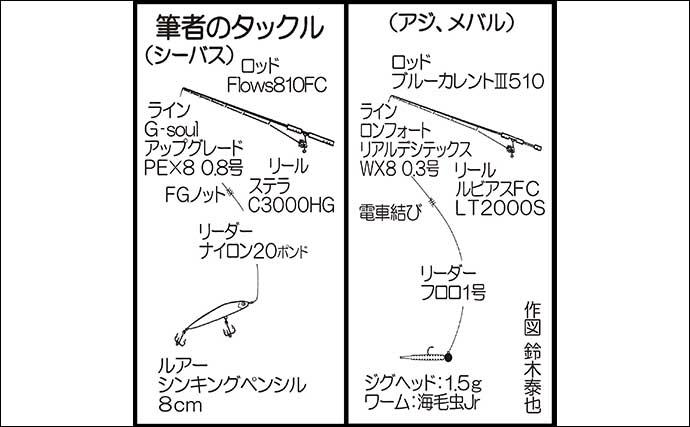 ナイトシーバス&ライトゲーム 70cmシーバスに22cmアジ手中【福岡】
