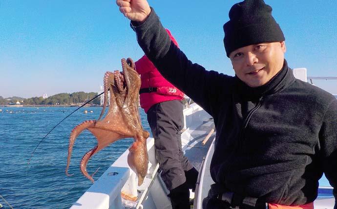 正月需要で『エギタコ』釣りが活況 高活性で2kg級も【神奈川・忠彦丸】