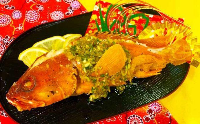 釣魚で作るおせち料理レシピ:「アカハタ」の丸揚げ 見た目も華やかに