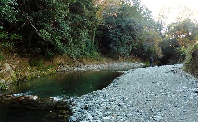 自然渓流型の管理釣り場で気難しいニジマスに苦戦【芥川マス釣り場】