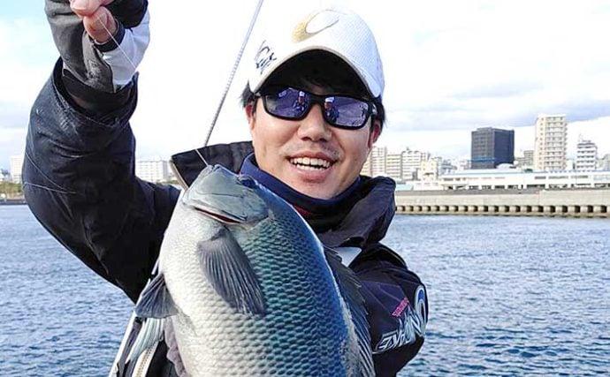 沖堤防フカセ釣りで『寒グレ』連打 30cm級が中心【兵庫・垂水一文字】