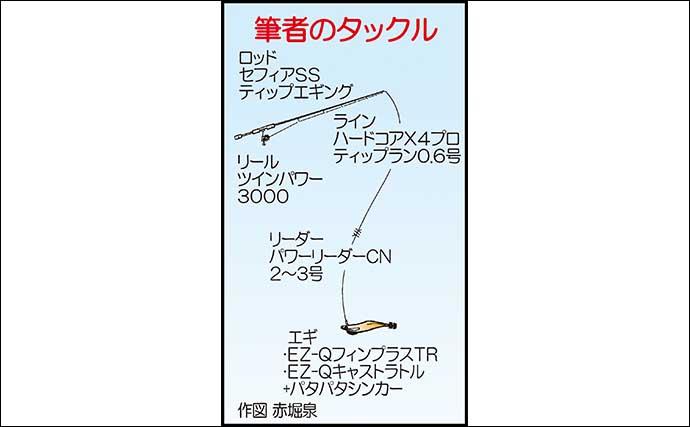 ティップランエギング絶好調 1kg超含み船中40匹【佐賀・Wingar】