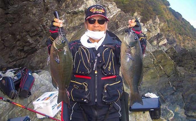 沖磯フカセ釣りで45cm良型グレ 好ゲストに72cmブリも浮上【大分】
