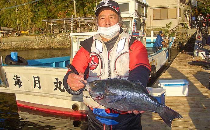 沖磯フカセ釣りで良型グレ乱舞 2kg級ブダイも登場【大分・海月丸】
