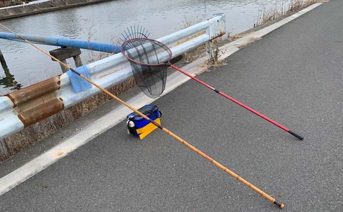 冬の河川で60cm超『天然ウナギ』 遠投不要の竹竿で御用【愛知・筏川】
