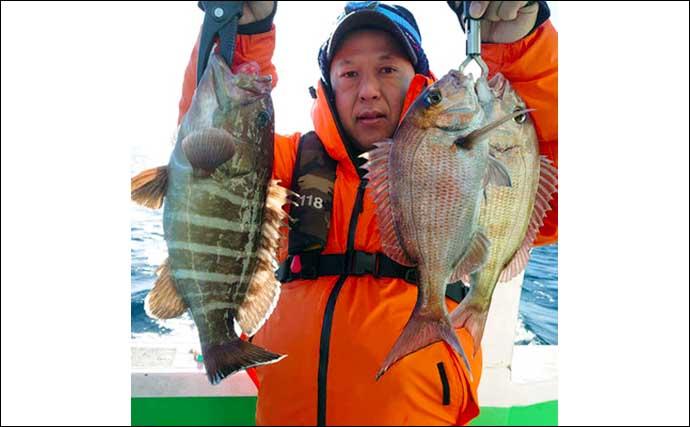 日立沖テンヤマダイで本命4尾 ゲストに高級魚トラフグ登場【弘漁丸】