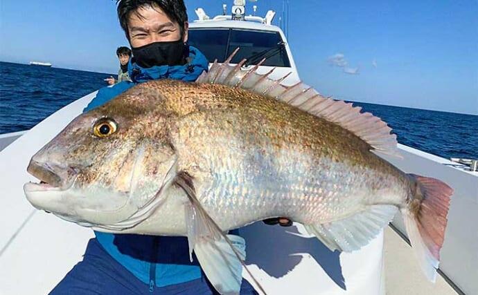 タイラバで春の大型マダイ絶好調 85cm頭に良型ばかり3匹【玄界灘】