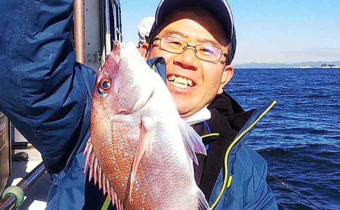 師崎沖「ウタセマダイ」で本命40匹 一時入れ食いモードに【愛知】