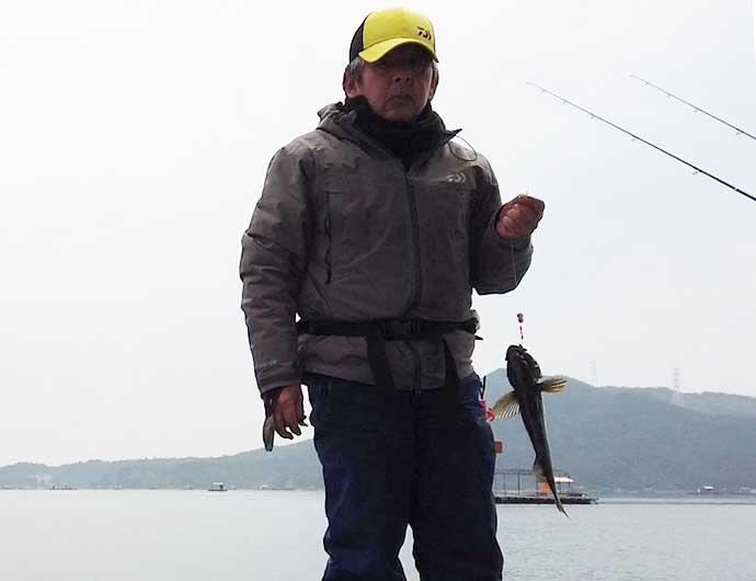 筏からの投げ釣りでカレイ3尾 好ゲストにアイナメも【徳島・堂ノ浦】