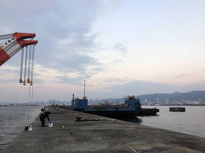 沖波止フカセ釣りで45cm頭にチヌ2匹 乗っ込みに期待【神戸港】