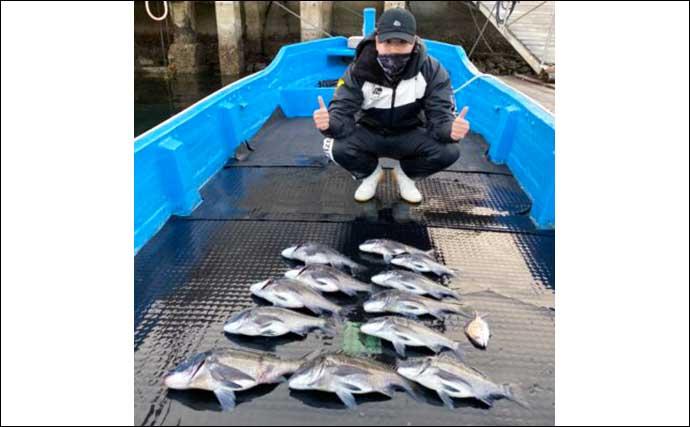 【三重・愛知】カカリ釣り最新釣果 「クチグロ」良型イシダイ顔出し
