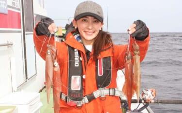 初挑戦のヤリイカ釣りで本命ゲットに笑顔 多点掛けも達成【庄幸丸】