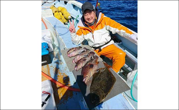 イワシ泳がせ釣りで3kg級頭にマハタ&ヒラメ船中続々【千葉・春日丸】