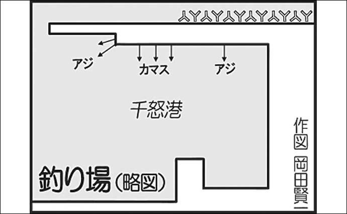 堤防カマスゲームで18匹 バイブレーションには30cm超ヒット【大分】