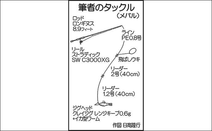 ナイトメバリングで24cmメバル 遠投で50m先にてヒット【熊本】