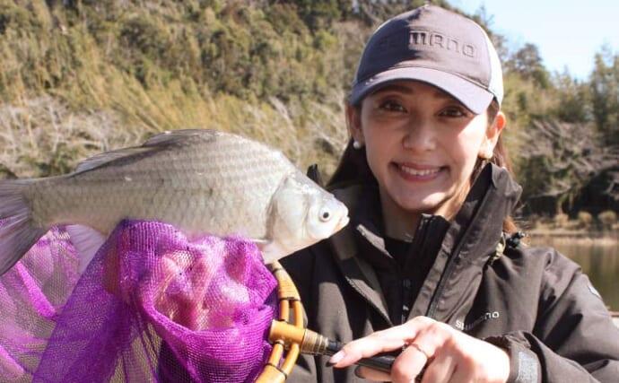 厳寒期のヘラブナ釣りで「ツ抜け」達成に笑顔【長熊釣堀センター】