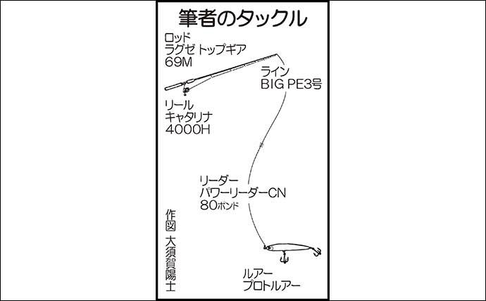 プレジャーボートでのキャスティングヒラマサゲームで本命8kg【福岡】