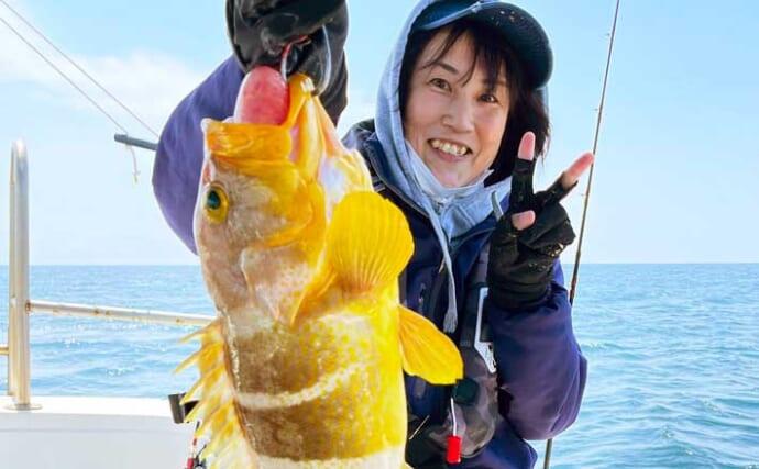 【大分・熊本】沖釣り最新釣果 タイラバ&テンヤでアオナなど好土産