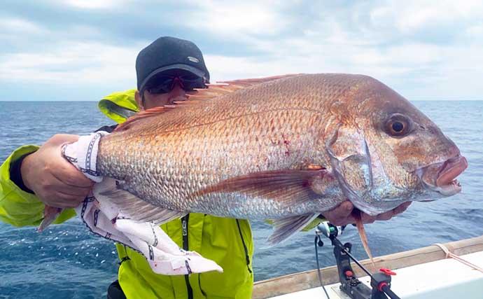 【玄界灘】沖のエサ釣り最新釣果 エビラバで5kg頭に良型マダイ連発