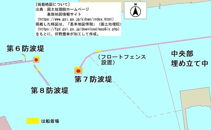 沖堤防の落とし込み釣りで大チヌ登場 サビキでデカアジも【第7防波堤】