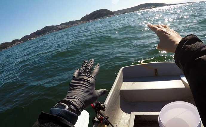 乗っ込みマダイに手こぎボートで挑戦 戦略的コマセワークで43cm本命