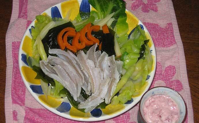 【釣果レシピ】キスの湯引き風サラダ 紀州の特産品で春の味覚を満喫