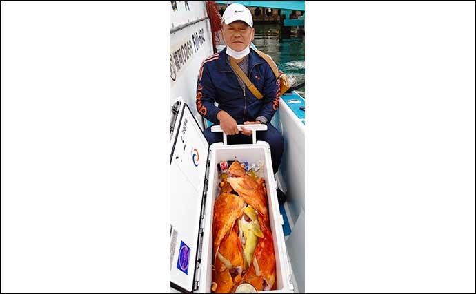 【福岡】沖のエサ釣り最新釣果 エビラバや五目釣りで良型マダイ続々
