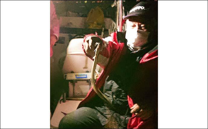 ボートウナギ釣りで重量級登場 代用エサの『ボケ』が奏功?【揖斐川】