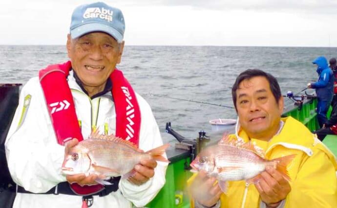 外房イサキ&ハナダイ釣り盛期到来 速潮対策が奏功し良型手中【増栄丸】