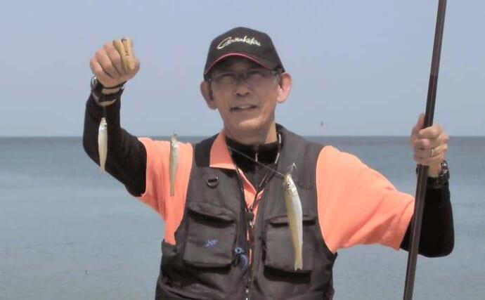 サーフでの投げキス釣りで本命50匹弱と快釣 小型主体も3連も【三重】