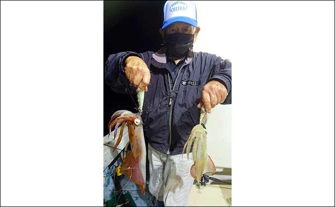 【響灘】ルアー&夜焚きイカ最新釣果 タイラバで良型本命&好ゲスト