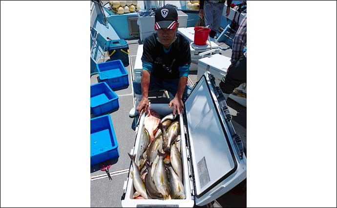 【福岡】沖のエサ釣り最新釣果 活きイカ泳がせで39kg&36kg『アラ』
