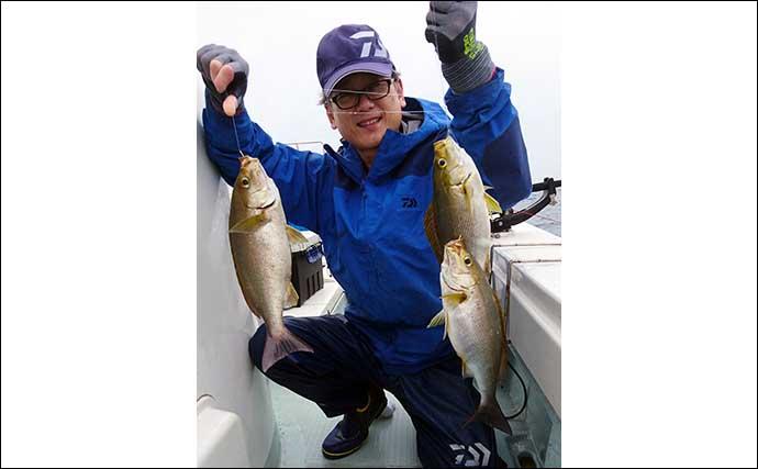 【響灘】沖のエサ釣り釣果情報 ひとつテンヤで9kg大型マダイ堂々浮上