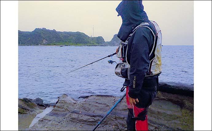 朝マヅメの地磯エギングゲーム 本命アオリイカ手中【神奈川・三浦半島】