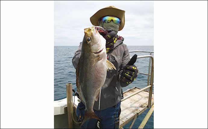 【福岡】沖のルアー最新釣果 タイラバ&SLJで80cm頭に大型マダイ50尾