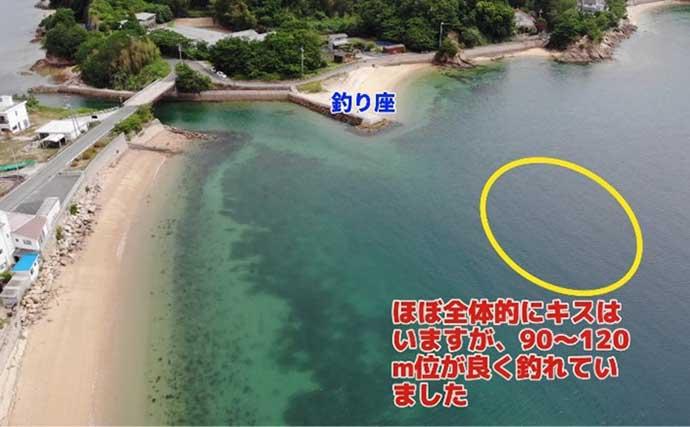 投げキス釣りで22cn頭に23匹 ポイントを空撮写真で紹介【広島】