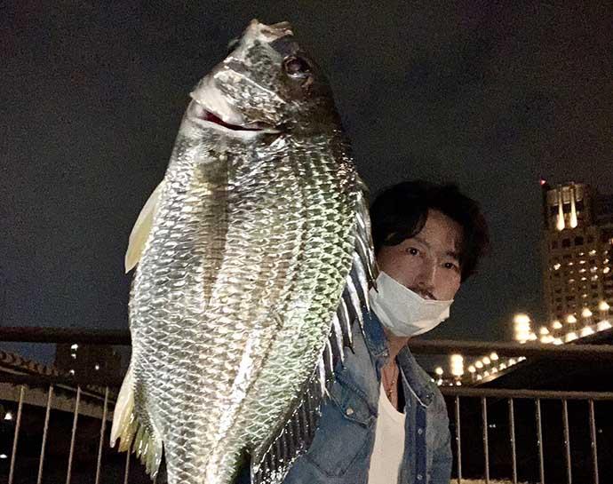 東京湾奥『チニング』ゲームでキビレ2匹 フリーリグでのボトム攻め的中