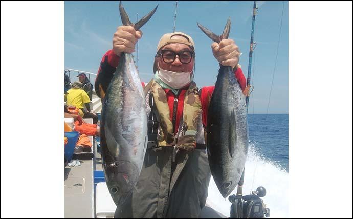 コマセ釣りで2.6kg頭に初ガツオ8匹 キハダ2匹も顔出し【静岡・金洲】