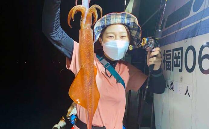 【玄界灘】夜焚きイカ釣り最新釣果 好調継続で釣る人3ケタも