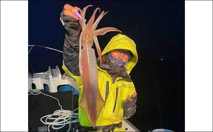 メバリングロッド流用でイカメタルに挑戦 活性高く良型の数釣り堪能