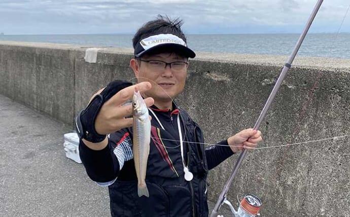 投げキス釣りで27cm登場 7連掛けも【鳥取・弓ヶ浜&夢みなと公園】