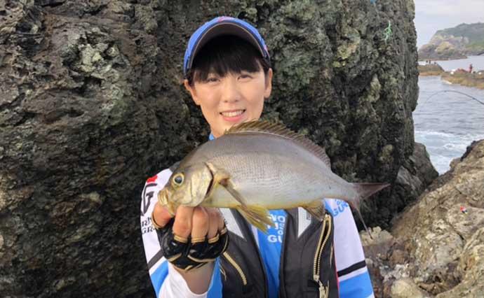 シーズン終盤のイサキを沖磯から狙う フカセ釣りで40cm超え手中【大分】
